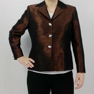 Frascara brown designer jacket crystal buttons
